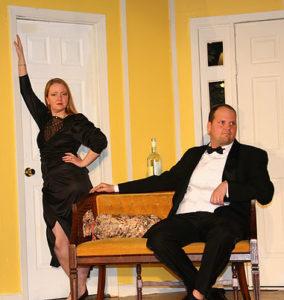 HanaLyn Colvin (left) as Cassie Cooper and Jon Scheffenacker (right) as Glenn Cooper in Rumors