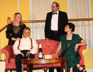 (From top left, clockwise) HanaLyn Colvin as Cassie Cooper, Ron Zyna as Ernie Cusack, Jenn Mikulski as Claire Ganz, and Robert S. Hitcho as Lenny Ganz in Rumors