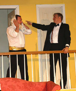 Doug Storey (left) as Ken Gorman and Robert S. Hitcho (right) as Lenny Ganz in Rumors
