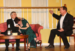 Robert S. Hitcho (left) as Lenny, Jenn Mikulski (center) as Claire Ganz, and Ron Zyna as Ernie Cusack in Rumors