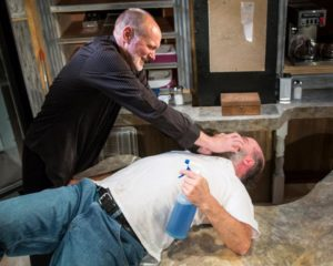 Tim Seltzer (left) as Luther Flynn and Tad Janes (right) as Arthur Przybyszewski in Superior Donuts at the MET