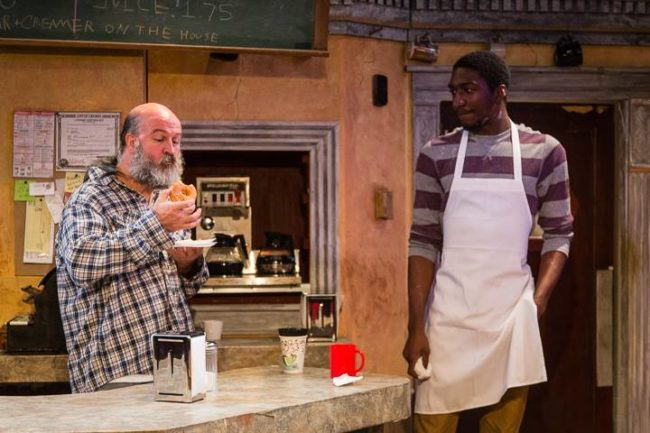 Tad Janes (left) as Arthur Przybyszewski and Najee Banks (right) as Franco Wicks in Superior Donuts at the MET