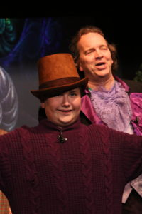 Zachary Zappardino (left) as Charlie Bucket and John Dignam (right) as Willy Wonka