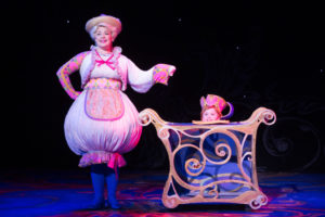 Stephanie Gray (left) as Mrs. Potts and Kadence Edwards (right) as Chip in Beauty & The Beast