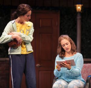 Erin Wegner Brooks (left) as Pam Sakarian and Lauren Wright (right) as Lizzie Fields in Baby