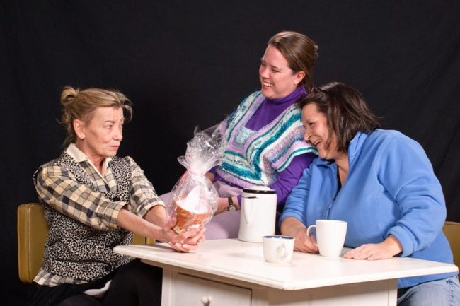 Bernadette Arvidson (left) as Dottie, Shirley Panek (center) as Margaret, and Karen Lamber (right) as Jean in Good People