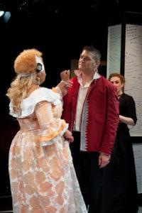 Kay-Megan Washington (left) as Madame de Volanges and Nathan Parry (right) as Le Vicomte de Valmont