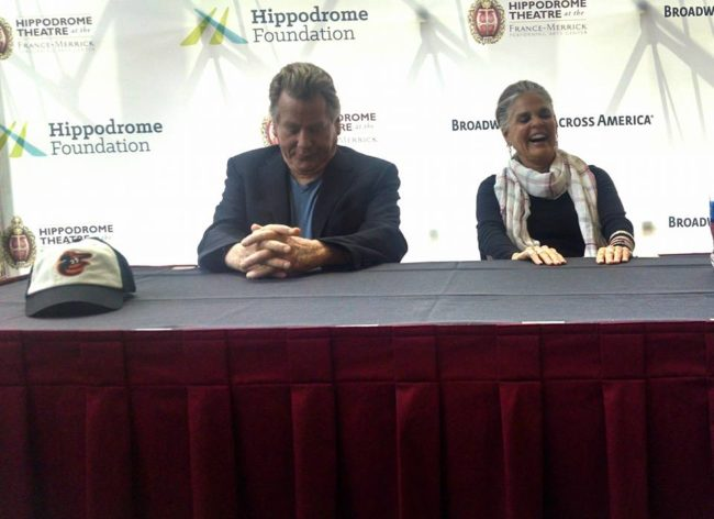 Ryan O'Neal (left) and Ali MacGraw (right) field questions from various Baltimore media outlets at The Hippodrome Theatre on Monday June 6, 2016