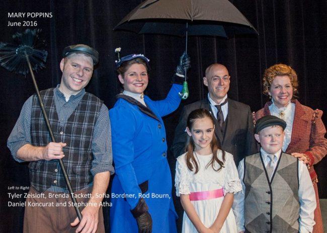 (L to R) Tyler Zeisloft as Bert, Brenda Tackett as Mary Poppins, Sofia Bordner as Jane, Rod Bourn as Mr. Banks, Daniel Koncurat as Michael, and Stephanie Altha as Mrs. Banks