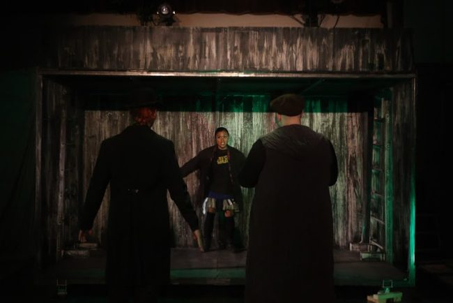 Matthew Payne (left) as Mr. Croup, Cori Dioquino (center) as Door, and Bobby Henneberg (right) as Mr. Vandemar in Neil Gaiman's Neverwhere