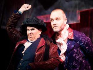 Meghan Taylor (left) as Rosencrantz and Tyler C. Groton (right) as Guildenstern