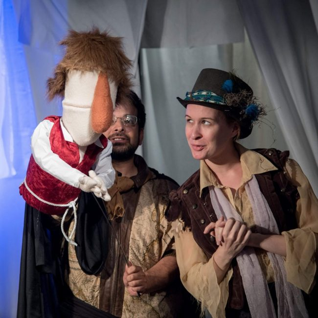 Rafael Spike Regales (left) as Hamlet and Elle Marie Sullivan (right) as Player in Rosencrantz and Guildenstern are Dead