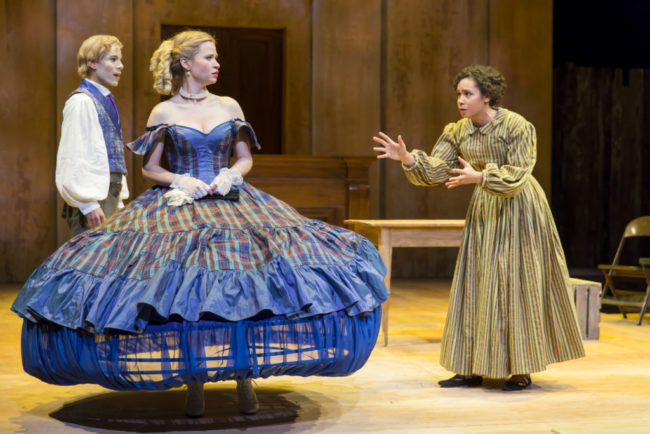 Jon Hudson Odom (left) as George, Maggie Wilder (center) as Dora and Kathryn Tkel (right) as Zoe in An Octoroon