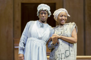 Erika Rose (left) as Dido and Shannon Dorsey (right) as Minnie in An Octoroon at Woolly Mammoth Theatre Company