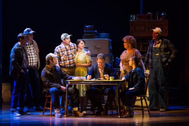 Dave Thomas Brown, Tom Treadwell, Cole Burden, Cullen R. Titmas, Elizabeth Stanley, David Hess, Mary Callanan, Caitlin Houlahan and Matt Stokes in the national tour of THE BRIDGES OF MADISON COUNTY.