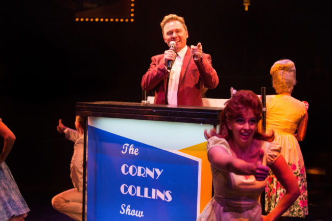 Jeffrey Shankle (center) as Corny Collins and the Council Member Kids in Hairspray