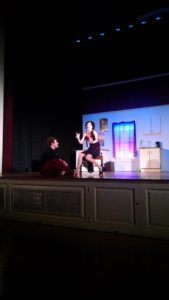 Jack Buzard (left) as Man in Chair and Meghan Hanlon (right) as The Drowsy Chaperone
