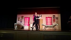 Timothy Huynh (left) as Aldolpho and Meghan Hanlon (right) as The Drowsy Chaperone