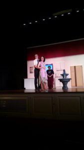 Nick Zuelsdorf (left) as Robert Martin and Mary Morency (right) as Janet Van de Graaff in The Drowsy Chaperone