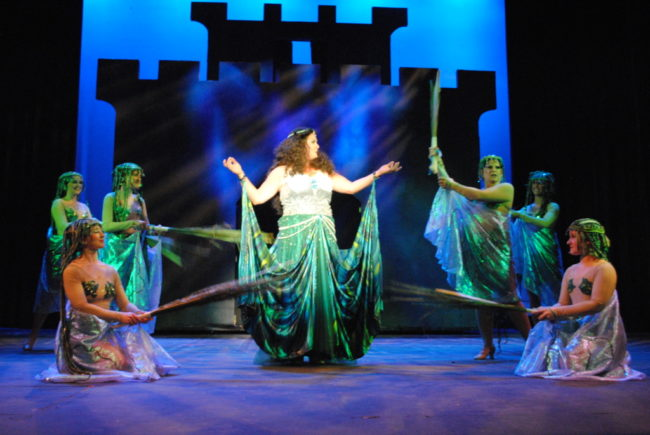 Eileen Keenan (center) as The Lady of the Lake and her Laker Girls in Spamalot