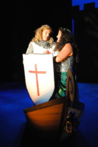 David Jennings (left) as Sir Galahad and Eileen Keenan (right) as Lady of the Lake in Spamalot