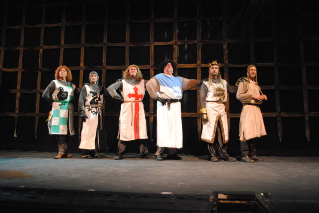 (L to R) Jeff Burch as Sir Robin, Steve Flickinger as Sir Lancelot, David Jennings as Sir Galahad, Chip Meister as Sir Bedevere, Phil Gallagher as King Arthur, and Gary Dieter as Patsy in Spamalot