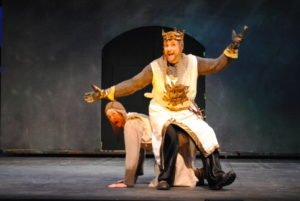 Gary Dieter (below) as Patsy and Phil Gallagher (above) as King Arthur in Spamalot