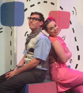 Rhys Scheibe (left) as Elephant Gerald and Bella Muller (right) as Piggie