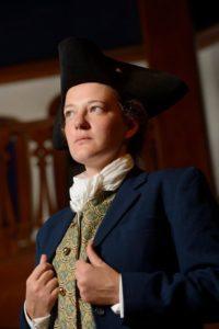 Anne Shoemaker as Julius Caesar in Julius Caesar at Baltimore Shakespeare Factory