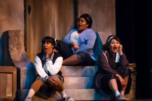 Dorian McCorey, Jordan Leigh McCaskill, and Adia J. Seckel as the Do-Wop Trio in Little Shop of Horrors