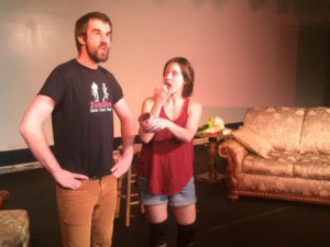 Ian Hoch (left) as Douglas and Claire Coyle (right) as Kate in Seminar