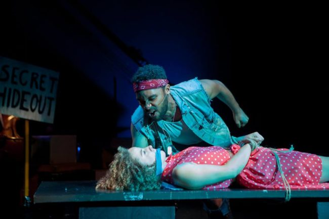 Kamau Mitchell (above) as Hot Blades Harry and Suzanne Lane (below) as Hope Cladwell in Urinetown: The Musical