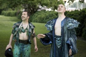 Matthew Pauli (left) as Puck and Brian Keith MacDonald (right) as Oberon in A Midsummer Night's Dream