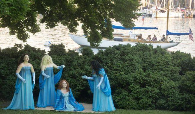 Queen Titania (seated- Renata Plecha) and her Faerie servants (surrounding- Christine Jacobs, Eternanda Fudge, Lauren Hardcastle) awaiting nightfall