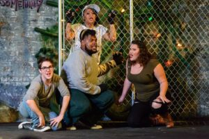 (L to R) Featured ensemble members Gabe Taylor, Wesley Williams, Lilibeth Rabang, and Kylie Airin Sjolie in Rent