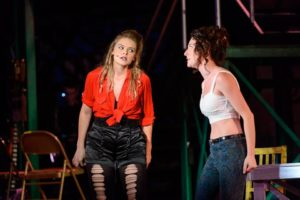Loghan Bazan (left) as Maureen and Andy Greenwald (right) as Joanne in Rent