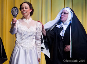 Julie Parrish (left) as Maria and Catherine Washburn (right) as Mother Abbess