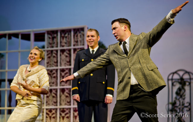Lindsey McCumber (left) as Elsa, Tyler Daniel Zeisloft (center) as Captain von Trapp, and Ruben Ward (right) as Max Detweiler