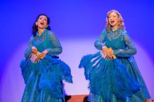 Marloe Lippert (left) as Betty Haynes and Libby Burgess (right) as Judy Haynes in White Christmas
