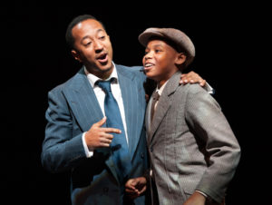 Mark G Meadows (Jelly Roll Morton) and Elijah Mayo (Young Jelly) in Jelly's Last Jam at Signature Theatre