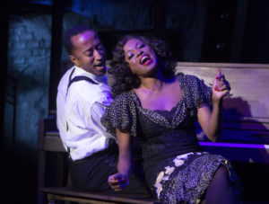 Mark G Meadows (Jelly Roll Morton) and Felicia Boswell (Anita) in Jelly's Last Jam at Signature Theatre