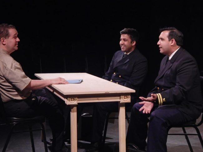 Peter Orvetti (left) as Capt. Whitaker, with Andy De (center) as Lt. JG Daniel Kaffee and Adrian Vigil (right) as Lt. JG Sam Weinberg