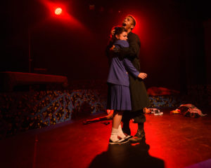 Vivian Cook (left) as Veronica and Hasani Allen (right) as JD in Heathers