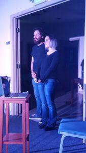 Dustin Horsman (left) as Male Netizen and Tricia Ragan (right) as Female Netizen