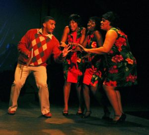 C.C. White (left- Tevin Brown) and The Dreamettes (Alana Linsey, Sequina DuBose, and Crystal Freeman)