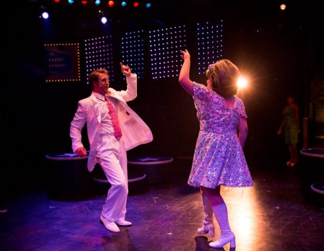 "Justin Calhoun (left) as Link Larkin with Christie Graham (right) as Tracy Turnblad doing ""You Can't Stop the Beat"" in Hairspray"
