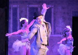 Nathan Bowen (center) as Leo Bloom with 'Producer Dancers' (Lacy Comstock, left and Kirsti Dixon, right)