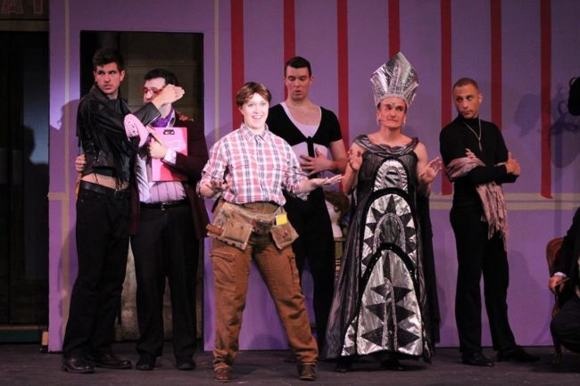 Roger's Team (L to R- Jason Beall, Adam Timko, Stephanie Bernholz, and Andrew Gordon) with Pete Thompson (center-right) as Roger DeBris and Kevin James Logan (far right) as Carmen Ghia