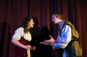 Samantha Sheldon (left) as Snow White and Zachary Roth (right) as The Prince in Snow White