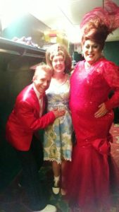 David James (left) as Wilbur Turnblad, with TheatreBloom Reviewer Amanda N. Gunther (center) and Larry Munsey (right) as Edna Turnblad at Hairspray